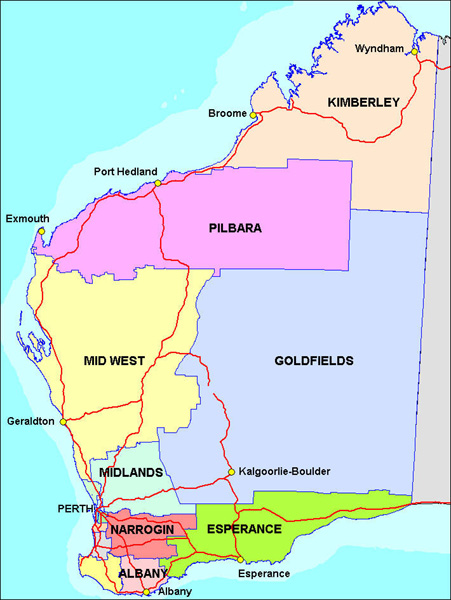 Mining Town Investment Western Australia Pilbara Region - Map of western australia with towns