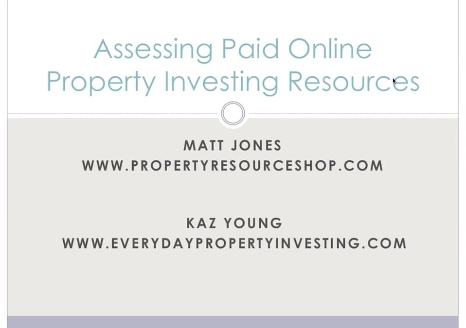 Assessing Paid Online Property Investing Resources—Webinar with Matt Jones